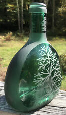 Sandblasted Vintage Mateus Green Glass Wine Bottle - Beautiful Decorative Accent