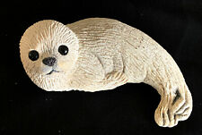 "White Textured Clay Baby Seal with Black Eyes and Nose 7"" Excellent Condition!"