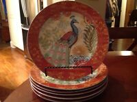 Prima Donna Designs Jennifer Brinley PEACOCK Orange Dinner Plates /set of (6)