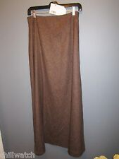 NWT JLEE SILVER SIZE 6  LONG  A-LINE  TOWNE  SKIRT IN BROWN  LINED MSRP $195