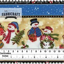 Christmas Fabric Snowman/Present Border 100% cotton 1 metre