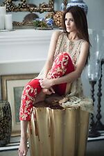 Pakistani Dress : Designer Mina Hasan Inspired Chiffon Dress - Beige/Gold/Red