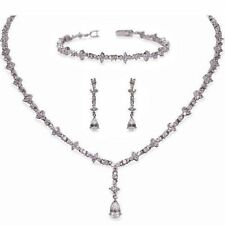Silver Coloured Cubic Zirconia Fashion Jewellery Sets