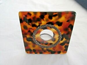 "PHOTO FRAME VINTAGE LUCITE FAUX TORTOISE SHELL FREE STANDING 3"" X 3""  7.5 cm squ"