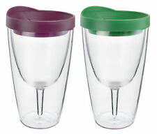 Insulated Wine Tumbler 16oz Merlot Verde Drink Lid Acrylic Adult Sippy Cup 2 Pk