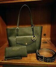 Michael Kors Jet Set Front Pocket Saffiano Leather + Matching Wallet + Free Belt