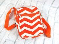 Orange & White Striped Beach Bag w/Bottle & Phone Pockets 2 Lg. 1 zip pocket EUC