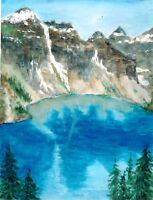 """Lake Moraine"" ORIGINAL signed watercolor painting Banff Canada Rocky mountain"