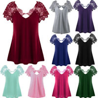 Womens Blouse Lace Trim Short Sleeve Tops V-Neck Plus Loose Casual T Shirt Tops