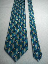 Cellini Men's Vintage Tie in a Green Blue Yellow and Navy Geometric Pattern