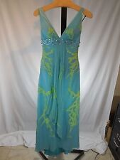MISSES 100% SILK TURQUOISE BEADED LONG MAXI DRESS GOWN PROM MARSONI 4