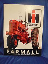 "International Harvester Farmall metal sign red tractor 12"" x 16"" wall farm art"