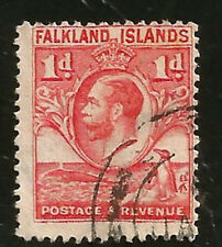 FALKLAND ISLANDS FIN WHALE GENTOO PENGUIN & GEORGE V USED STAMP ISSUED IN 1920s