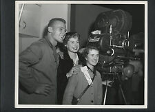 TAB HUNTER BESIDE A CINEMASCOPE CAMERA - 1955 CANDID - BATTLE CRY - WWII STORY