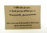 A Little Star To Thank You Message Card Tie Wish Bracelet Teacher Gift