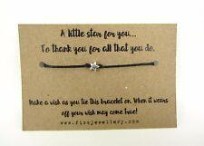 A Little Star To Thank You Message Card Tie Wish Bracelet Teacher Gift