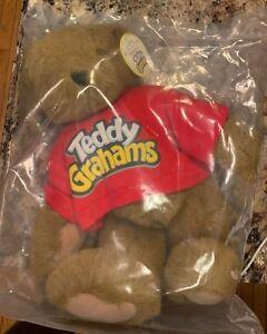 """Vintage Teddy Grahams Teddy Bear Sealed Nabisco Vermont VTBC 11"""" Rare NWT Ad New"""