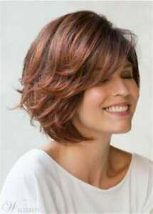 Beautiful Short Bob Hairstyle Red Brown Synthetic Hair Women Wigs
