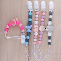 Baby Pacifier Chain Silicone Beads Flamingo Animal Teething Toys Dummy Soothers