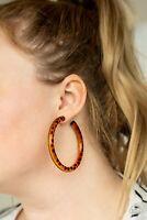 Paparazzi ~Miami Minimalist - Brown Tortoise Acrylic  Hoop Earrings! New