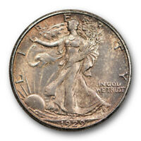 1929 S 50C Walking Liberty Half Dollar Uncirculated Mint State Original Toned...