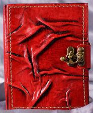 Notizbuch Leder, Tagebuch mit Verschluß, Lederbuch rot Diary Poesiealbum Kladde