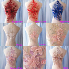 Beaded Bridal Lace Applique Embroidery Corded Motif Pearls Wedding lace Trim 1PC