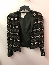 Papell Boutique L Mother Of Bride Silk Full Beaded Long Sleeve Jacket Euc Lkn