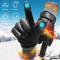 -10℃ Leather Waterproof Winter Warm Ski Gloves Touch Screen Driving Men Women