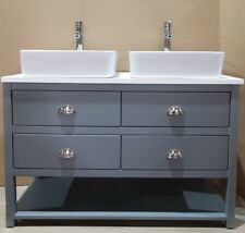 Painted Bathroom Cabinet Washstand 1400mm Wide Marble Solid Surface Top