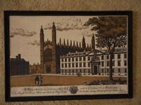 University of Cambridge Burlap type fabric Large Picture Kitsch Vintage apx30x21