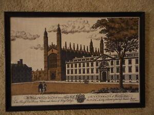 University of Cambridge Burlap type fabric Large Picture Kitsch Vintage apx30x21