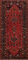 Vintage Tribal Geometric Hamedan Runner Rug Wool Handmade Oriental Carpet 3x7 ft