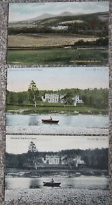 1907 - 1908 3x Vintage Abbotsford House Postcard Scotland Sir Walter Scott Tweed