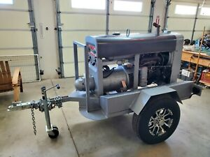 Lincoln SA-200 Red Face F163 Gas Powered Arc Welder on Trailer