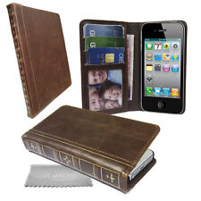 Vintage Book Classic Retro Leather Wallet Case Cover for Mobile PHONES Tablets Apple Apple iPhone 5c Brown