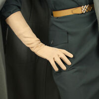 """Suede Long Gloves Faux Leather 16"""" 40cm Opera Evening Double-faced Nude Beige"""