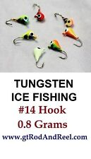 Tungsten Ice Fishing Tear Drop Jig 7 Different Colors 0.8 Grams #14 Hook