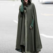 Women 50s 60s Long Cape Cloak Cardigan Hooded Coat Outwear Medieval Robe Costume