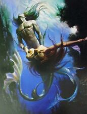 Boris Vallejo Vintage Art Nude Fantasy Print Mermaid Merman Ocean Mating Water