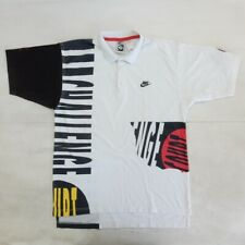 NIKE AGASSI CHALLENGEVINTAGE SHIRT POLO MAGLIA JERSEY WHITE/BLACK