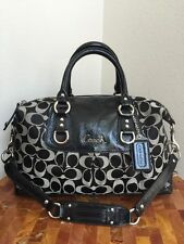AUTHENTIC COACH ASHLEY BLACK SIGNATURE PATENT LEATHER TRIM SATCHEL SHOULDER BAG