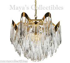 Lobmeyr Mid Century Modernist Crystal Chandelier Gold Plated Sciolari Style