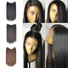 "21""Natural Brazilian Straight Full Lace Glueless Long Straight Human Hair Wigs"