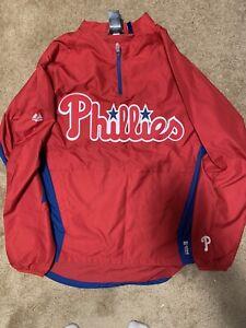 MLB Majestic Cool Base Philadelphia Phillies 1/4 Zip Up Windbreaker