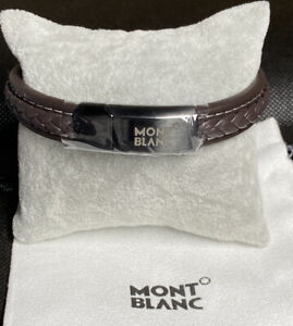 Montblanc Contemporary Woven Brown Leather & Stainless Bracelet