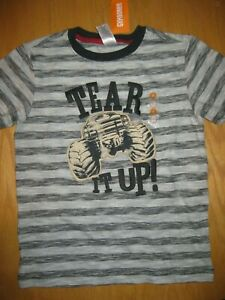 NWT Gymboree Ready Set Red size 8 Gray Striped Tear it Up Truck Shirt Top