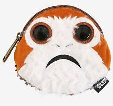 Star Wars Disney The Last Jedi Faux Fur Porg Face Zip Coin Purse New With Tags!