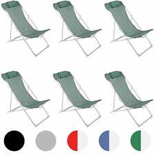 6x Adjustable Metal Garden Deck Chair Green Stripe Folding Portable Headrest