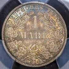 Mark 1914-A PCGS MS65 German Empire BU UNC Colorful Toning Silver Coin